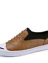 Men's Spring Summer Fall Winter Leather Office & Career Casual Party & Evening Flat Heel Lace-up Black