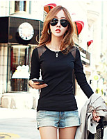 Women's Casual/Daily Simple Blouse,Solid Round Neck Long Sleeve Cotton