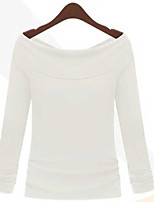 Women's Casual/Daily Simple Summer T-shirt,Solid Boat Neck Long Sleeve Cotton Thin