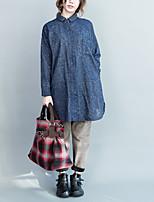 весной новые корейские литературные свободные длинные хлопковые рубашки женщин&# 39, S ретро отворот рубашка с длинными рукавами