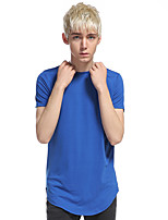 Men's Casual/Daily Sports Simple Active Summer T-shirt,Solid Round Neck Short Sleeve Cotton Rayon Thin