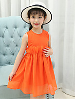 Girl's Casual/Daily Solid Striped Print Dress,Cotton Rayon Summer Sleeveless