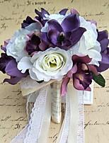 Bouquets de Noiva Redondo Rosas Buquês Casamento Festa / noite Cetim