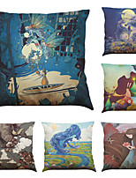 Set of 6 Cartoon Fantasy Pattern  Linen Pillowcase Sofa Home Decor Cushion Cover (18*18inch)