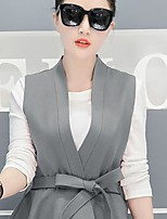 Femme Volant Blazer Pantalon Costumes,Couleur Pleine Décontracté/Quotidien simple Sangle Manche Longues V Profond Coton