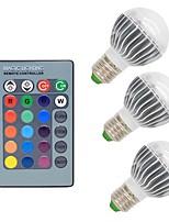 3W E26/E27 Lâmpada Redonda LED G50 1 COB 300 lm RGB Regulável Controle Remoto Decorativa AC 85-265 V 3 pçs