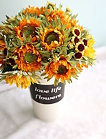 1 Branch Polyester Plastic Sunflowers Tabletop Flower Artificial Flowers 27