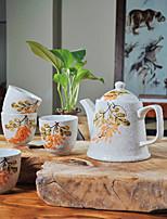 Letní láska ručně tištěných vysoké teploty porcelánu čajový set konvice (500 ml) a pohár (150 ml každý)