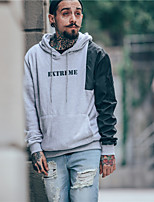 Men's Casual/Daily Hoodie Color Block Round Neck Micro-elastic Cotton Long Sleeve Spring