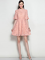 MARY.YAN&YUWomen's Going out Casual/Daily Work Cute Street chic Lace DressSolid Stand Above Knee  Sleeve Cotton Polyester Spring Summer Mid Rise