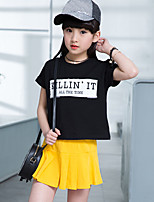 Girls' Cartoon Going out Casual/Daily Holiday Print Sets Cotton Summer Short Sleeve Top Pleated Skirt 2 Piece Clothing Set