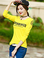 Women's Going out Casual/Daily Simple Summer Fall T-shirt,Solid Letter Round Neck Long Sleeve Cotton Rayon Opaque