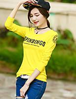 Damen Solide Buchstabe Einfach Ausgehen Lässig/Alltäglich T-shirt,Rundhalsausschnitt Sommer Herbst Langarm Baumwolle Kunstseide