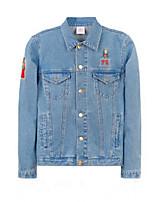 Для женщин На выход Весна Джинсовая куртка Лацкан с тупым углом,Очаровательный Однотонный Короткие Длинный рукав,Others