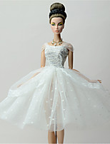 Party/Evening Dresses For Barbie Doll White Lace Dresses For Girl's Doll Toy