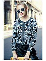Women's Casual/Daily Simple Short Cardigan,Camouflage Round Neck Long Sleeve Polyester Spring Thick Micro-elastic