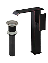 Country Modern Centerset Waterfall with  Ceramic Valve Single Handle One Hole for  Nickel Brushed , Bathroom Sink Faucet