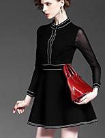 Evropa a Amerika na jaře 2017 nový límec plné barvy šití příze pouzdro štíhlý pas velký červených šatech