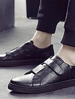 Черный Серебряный-Для мужчин-Для офиса Повседневный-Кожа-На плоской подошве-Удобная обувь-На плокой подошве