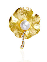 Women's Brooches Imitation Pearl RhinestoneBasic Unique Design Natural Friendship Double Pearls Cute Style Imitation Pearl Handmade