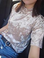 Damen Solide Einfach Ausgehen T-shirt,Ständer Kurzarm Kunstseide