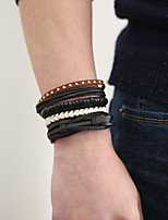 The New Vintage Cowhide Ancient Hand Woven Bracelet Cortical Layers Hand Rope Men's Bracelet Adjustable Size044