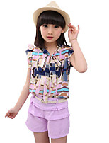 Girls' Casual/Daily Beach Holiday Solid Print Patchwork Sets,Cotton Summer Sleeveless Clothing Set