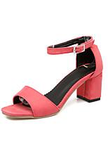 Damen-Sandalen-Lässig-Kunstleder-Blockabsatz Block Ferse-Leuchtende Sohlen-Schwarz Grün Rosa