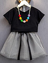 Girls' Casual/Daily Patchwork SetsCotton Polyester Summer Short Sleeve Clothing Set With Any Accessories