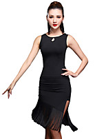 Latin Dance Outfits Women's Training Spandex / Milk Fiber Split / Tassel(s) 2 Pieces Sleeveless Natural Top / Skirt Dance Costume Black / Red