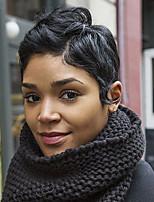Top Quality Short Pixie Short Natural Wavy Black Capless Cap Human Hair Wig For Women 2017