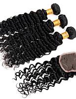 Trame cheveux avec fermeture Cheveux Péruviens Ondulation profonde 12 mois 4 Pièces tissages de cheveux