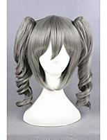 La perruque courte maître idole filles cinderella 16inch synthétique gris animés cosplay perruque ponytails cs-251a