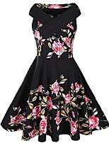 Women's Casual/Daily Vintage Sheath Dress,Print Boat Neck Midi Sleeveless Cotton Polyester Summer Fall Mid Rise Micro-elastic Medium