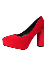 Mujer-Tacón Robusto Talón de bloque-Confort-Tacones-Oficina y Trabajo Vestido Fiesta y Noche-Semicuero-Gris Rojo Verde Rosa Color Camello