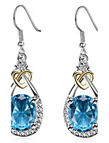 Women's Casual Drop Earrings Imitation Sapphire Euramerican Fashion Personalized Classic Zircon Copper Platinum Plated Jewelry For Party Lady jewelry