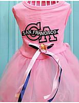 Chien Robe Vêtements pour Chien Eté Princesse Mignon Mode Décontracté / Quotidien Bleu Rose