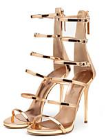 Золотой-Для женщин-Свадьба Для праздника Для вечеринки / ужина-Полиуретан-На шпильке-Оригинальная обувь Удобная обувь-Сандалии