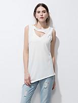 Tee-shirt Femme,Couleur Pleine Sortie Plage Vacances simple Chic de Rue Eté Sans Manches Col en V Coton Fin
