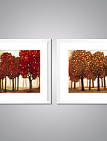 Framed Canvas Prints Abstact Trees Painting Picture Print on Canvas with White Frame for Livingroom Decoration