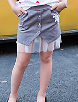 Girls' Casual/Daily Patchwork Skirt-Cotton Polyester Summer Spring Fall