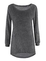 Normal Pullover Femme Sortie Décontracté / QuotidienCouleur Pleine Col Arrondi Manches Longues Coton Spandex Toutes les Saisons Moyen