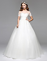 LAN TING BRIDE A-line Wedding Dress Simply Sublime Floor-length Jewel Lace Tulle with Lace