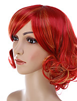 Curly Wave Short Red Mixed Orange Color Hairstyle with Bang Heat Resistant Cosplay Wig for Women