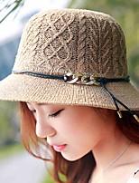 Women 's Summer Dome Curling Foldable Belt Decoration Solid Color Linen Fisherman Straw Bowler Hat