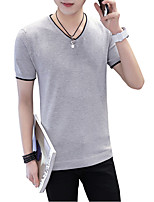 Men's Plus Size Casual/Daily Beach Simple Street chic Active Summer T-shirt,Solid Striped Round Neck Short Sleeve Cotton Rayon Polyester