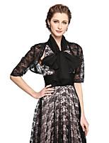Women's Wrap Shrugs Shawls Chiffon Lace Wedding Lace 2 pieces