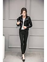 Women's Casual/Daily Simple Spring Summer Leather Jacket,Solid Shirt Collar Long Sleeve Short PU