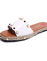 Damen-Slippers & Flip-Flops-Outddor Lässig-PU-Flacher Absatz-Komfort Leuchtende Sohlen-Weiß Schwarz