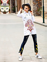 Women's Casual/Daily Work Simple Shirt,Floral Round Neck Long Sleeve Cotton Spandex